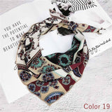 2018 Women 100% Nice Silk Skinny Stain Triangle Solid Tie Scarf Vintage Geometric Beauty Chiffon Square Scarf Cloth Accessory