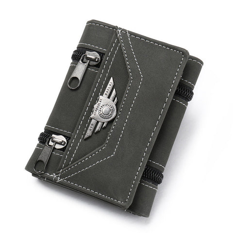 2017 Fashion Rivets wallets Vintage PU leather purse for men concise quality thin free shipping money clip card organizer man
