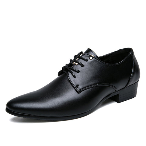 JUNJARM 2018 Mens Dress Shoes Fashion Pointed Toe Lace Up Men's Business Casual Shoes Brown Black Leather Oxfords Shoes