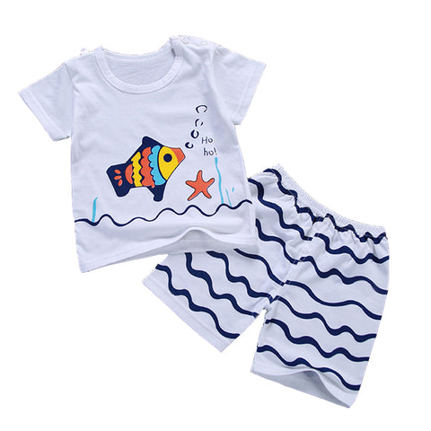 T-Shirts Pants For Boys Girls 6-24M Toddler Baby Summer Clothing Set Short Sleeve Tees With Panties A101 Kids Cotton Clothes