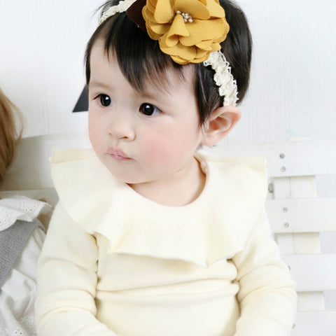 Baby Girl Shirt Fashion Ruffle O-Neck Long Sleeve Basic Cotton  Pure Color  T-shirt Kids Clothes  For 0-24M