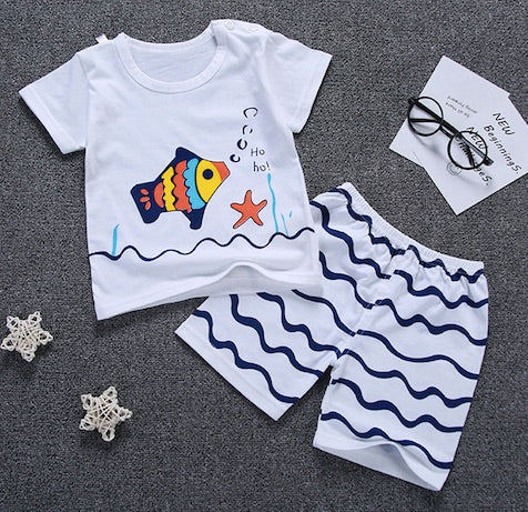 2 Pcs Children's Clothing Set Tees With Pants Short Clothes For Summer Kids T-Shirts Panties A101 Cotton Clothes For Girls Boys