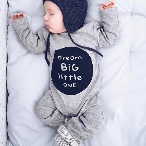Autumn Baby Clothing Infant Kids Boys Girls Romper Cute Letter Printed Long Sleeve Playsuit Pajamas Toddlers One Piece Jumpsuit