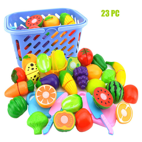 1 Set Learning Education Toys Mixed Shape Smart Children Baby Pretend Role Play Kitchen Fruit Vegetable Food Toy Tool Cutting