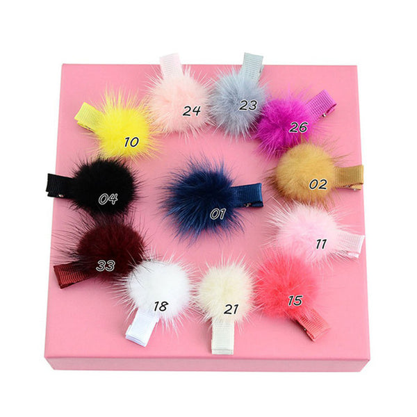 "12Pcs Girls 2"" Artificial Mink Soft Furry Hair Ties Ball Clip Pompon Hair Band Hair Barrettes Elastics Bobbles Ties Accessory"