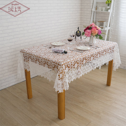 Free Shipping Weddings 60 90 120cm Square Coffee White Color Chemical Lace Fabric Embroidery Tablecloth