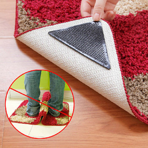 4pcs/8pcs Black Triangle PU Anti-slip Rug Grips Mats Non Slip Mat Reusable Washable Suction For Grip Door Mat Floor Mat