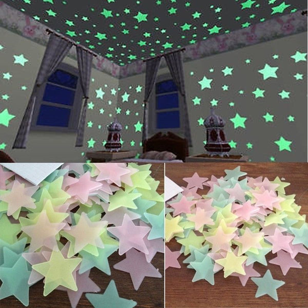 100pcs Luminous Wall Stickers Glow In The Dark Stars Sticker Decals for Kids Baby rooms Colorful Fluorescent Home decor #RT40