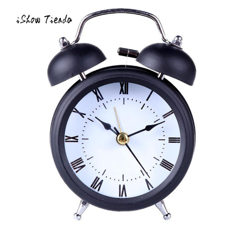 1 Pcs Clock Home Bedroom Decoration Classic Simple Stainless metal Shell Two-Way Bell Alarm Clock Home Decoration Silence