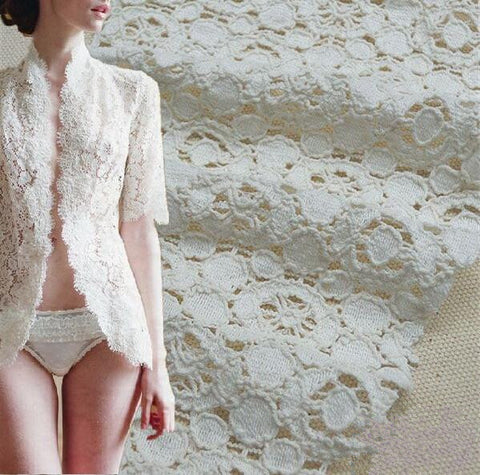 DIY White Cotton Openwork Embroidery Lace Fabric Skin-friendly Soft Summer Dress Dot Lace Fabric RS497