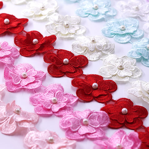 H630 91cm Pearl Lace Flower For Dress Ribbon Lace Trim Knitting Wedding Embroidered DIY Handmade Patchwork Sewing Supplies Craft