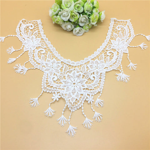 1pcs White Lace Collar Embroidered Neckline Trim Applique Embellishments Vintage Trims Wedding Dress Accessories #LH01-LH32