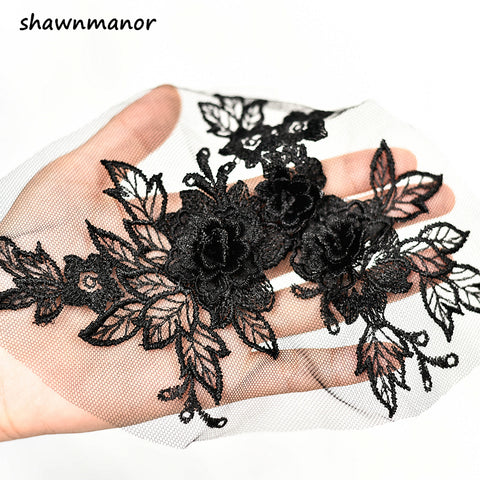 2PCS Colored 3D Flower Lace Applique Embroidered Material Trim For DIY Wedding Dress Veil Accessories