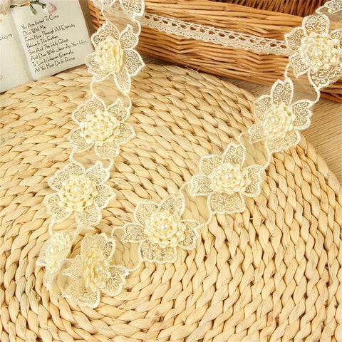 H305 1Y/92cm/pack Organza Lace Trim Knitting Wedding Embroidered Diy Handmade Patchwork Ribbon Sewing Supplies Crafts