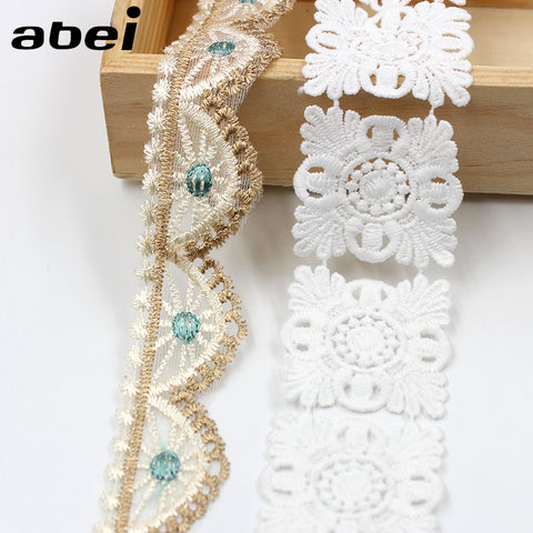 2yards/lot White water soluble Lace Trims Embroidered mesh lace ribbon diy appliques handmade sewing craft special lace supplier
