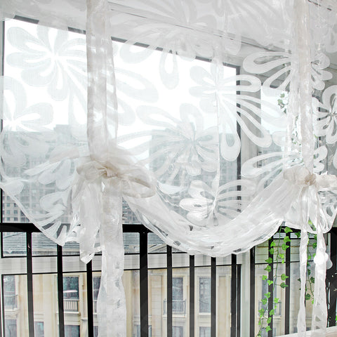 1 PC Sling Flowers Tulle Curtains for Living Room Indoor Window Screening Decor Balcony Burnout Voile Curtain