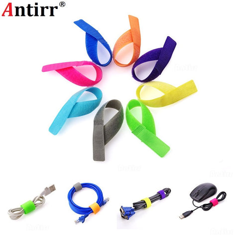 1pc Colorful Car Phone USB Cable Winder Magic Strap Tie Organizer Wire Cord Management Earphone Line Mouse Mark Label Band Belt