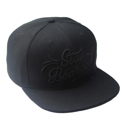 """Stay Bearded"" Snapback - Black on Black"