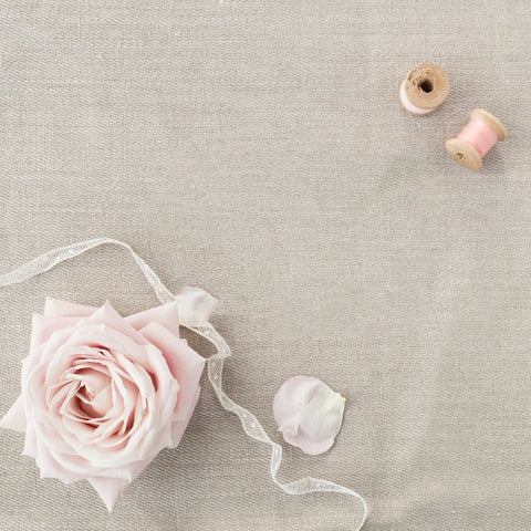Kirsty Gadd Textiles - sneak preview peachy pink linen rose fabric