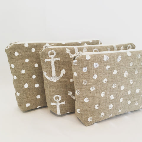 Kirsty Gadd Textiles New Products Washrags zip purses anchor and polka dot print