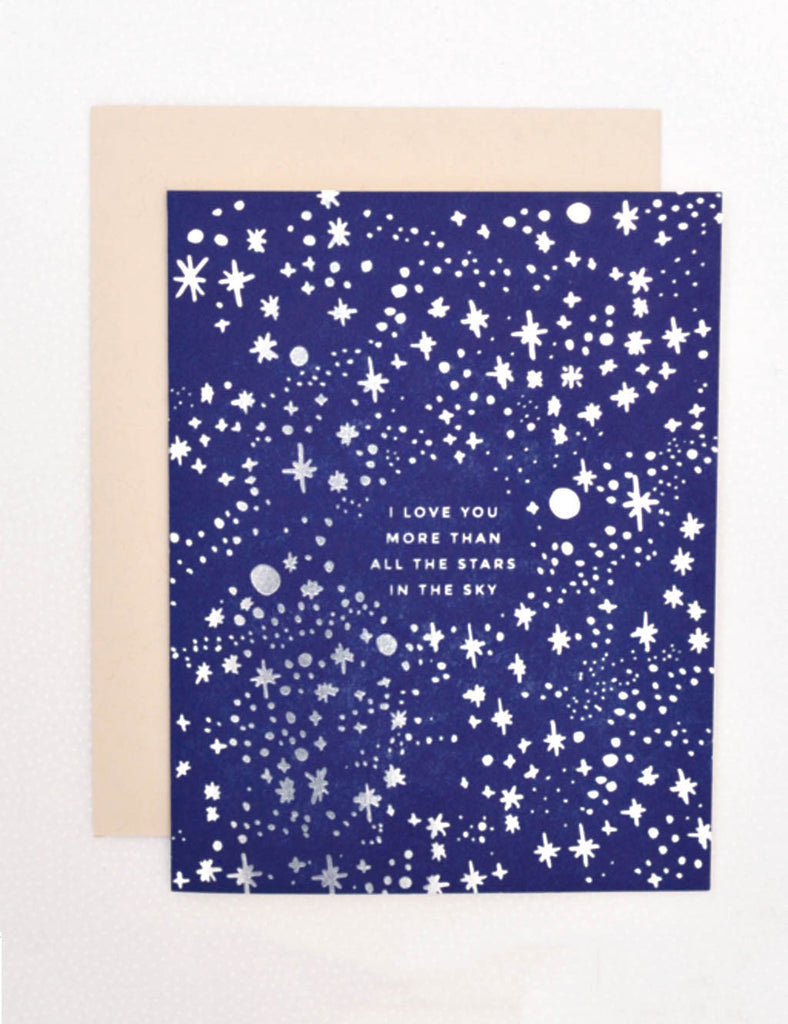 Kirsty Gadd Textiles Hello Lucky Valentines I love you stars in the sky card, luxury letter press card