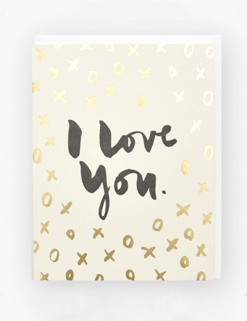 Kirsty Gadd Textiles Hello Lucky Luxury Foil I love you Valentines Card letterpress