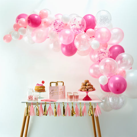 Pink & White Confetti Balloon Arch Backdrop