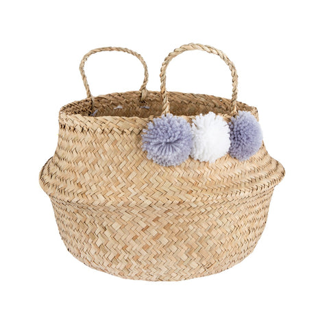 White & Purple-Grey Pom Pom, Seagrass Storage Basket