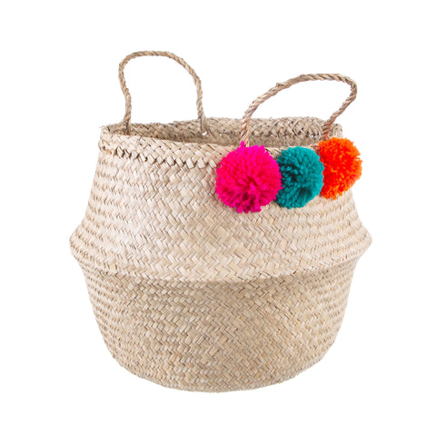 Bright Pom Pom Seagrass Storage Basket