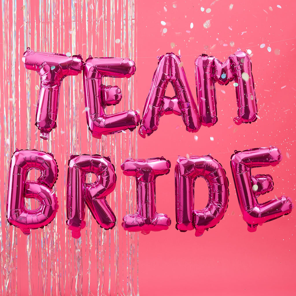 NEW! Hot Pink 'Team Bride' Balloon Bunting Backdrop
