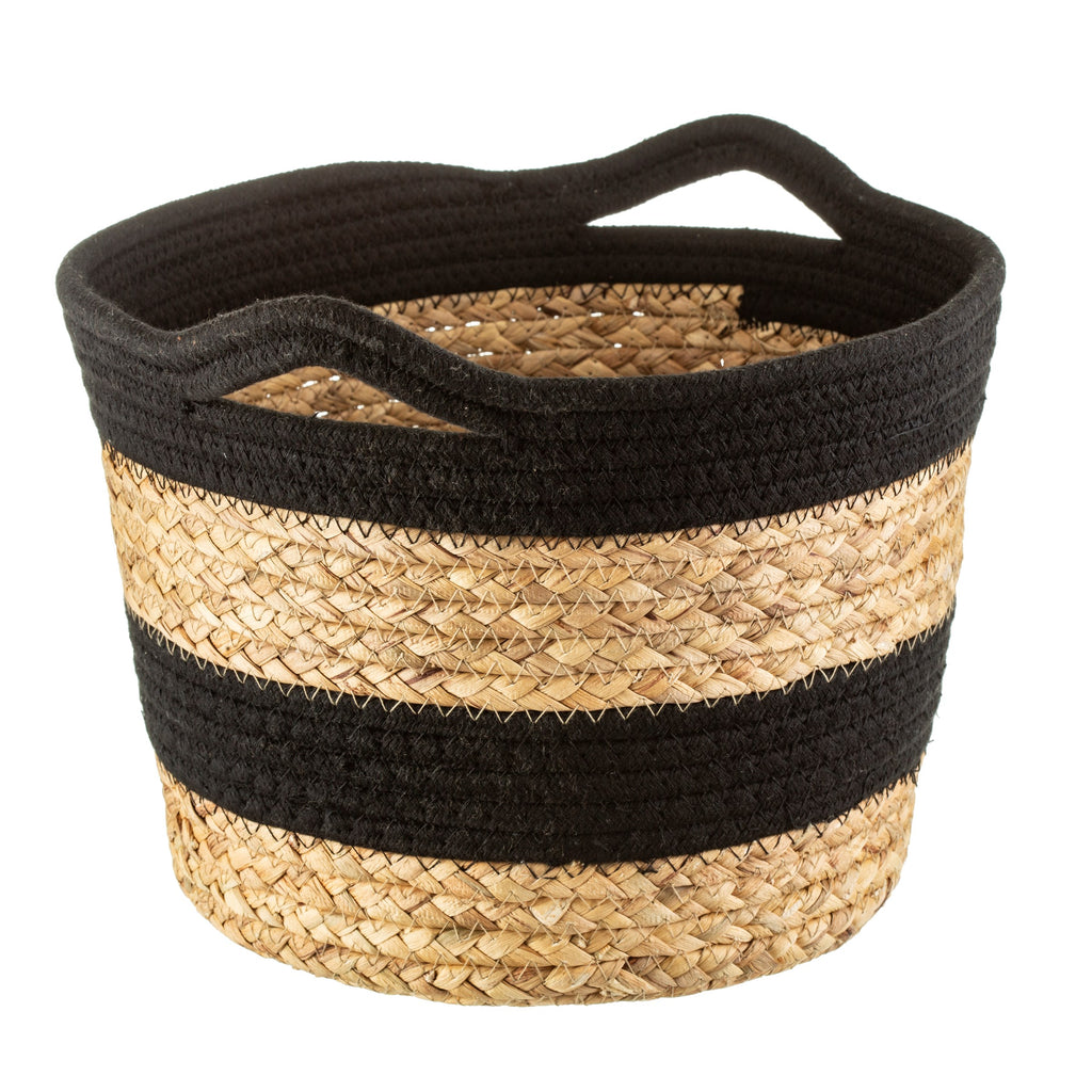 Black Rope & Seagrass Storage Basket
