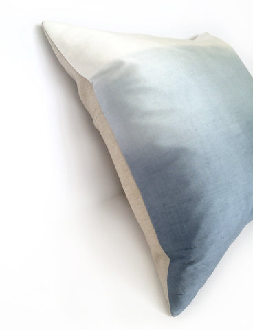 Blue Ombre Silk & Natural Linen Luxurious Handmade Square Cushion - Various Sizes