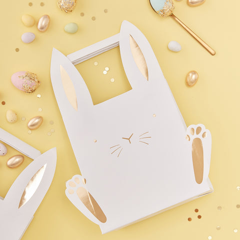 NEW! Gold & White Easter Bunny Shaped Treat Bags - 5 Pack