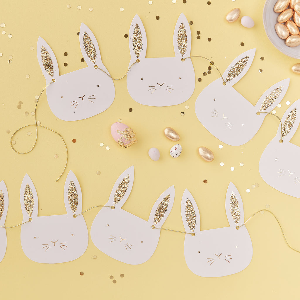 NEW! Gold & White Glitter Easter Bunny Shaped Bunting - 2m