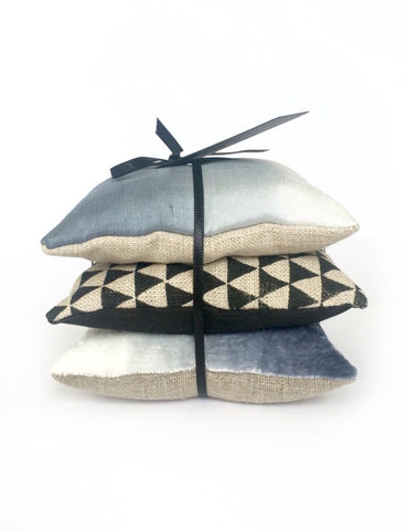Cotswold Lavender Pillows - Blue Silk Ombre / Dip Dye & Black Triangle Geometric Screen Print on Natural Linen