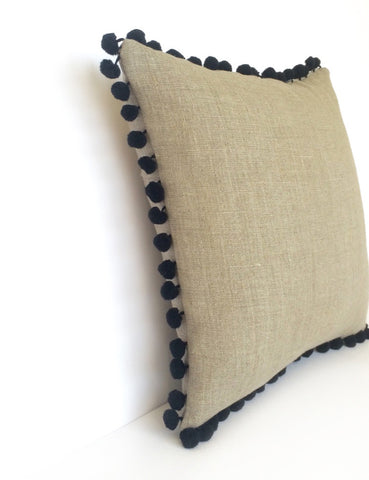 Natural Linen & Black Pom Pom Bobble Trim Cushion - Various Sizes