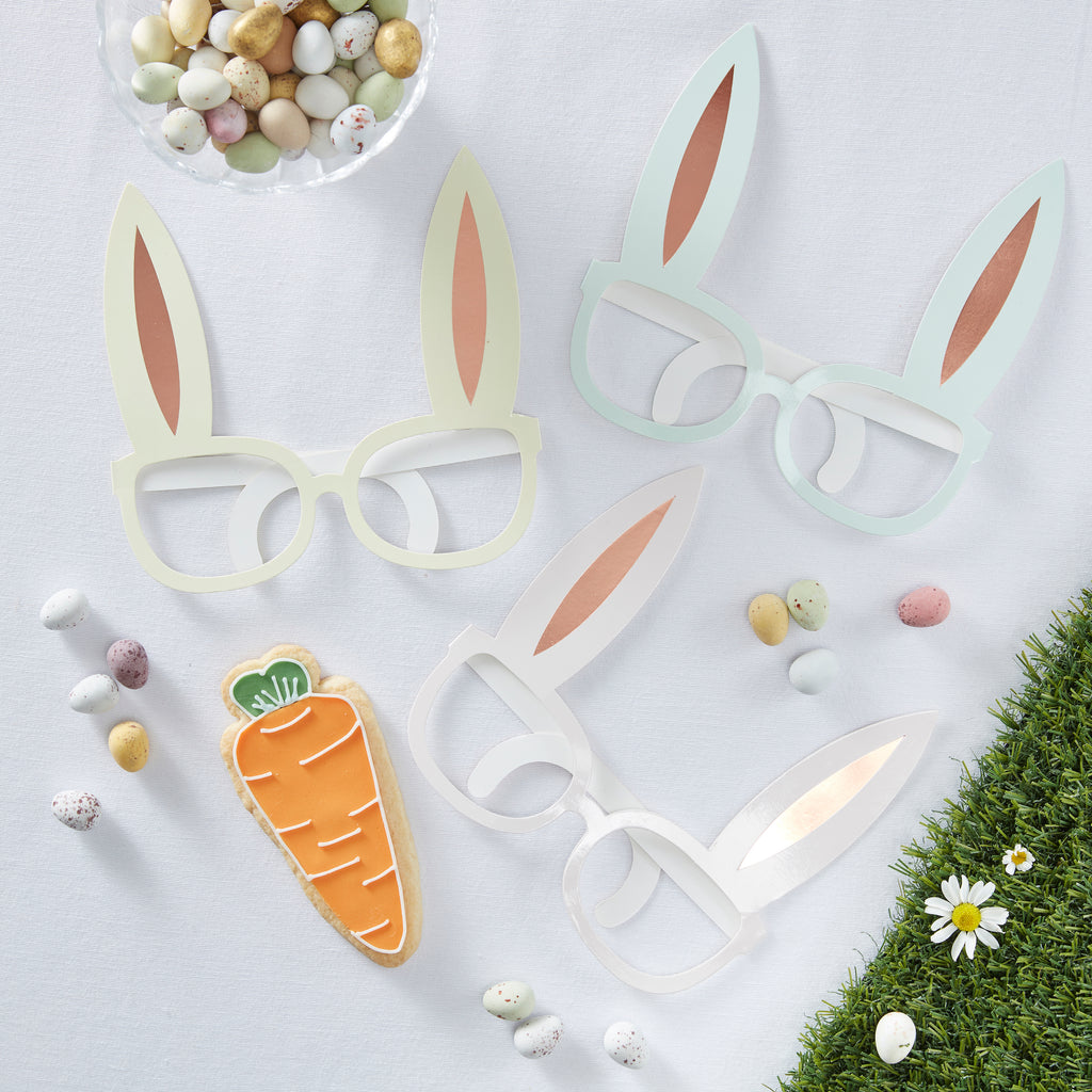 NEW! Rose Gold Foiled & Pastel Easter Bunny Shaped Fun Glasses - 8 Pack