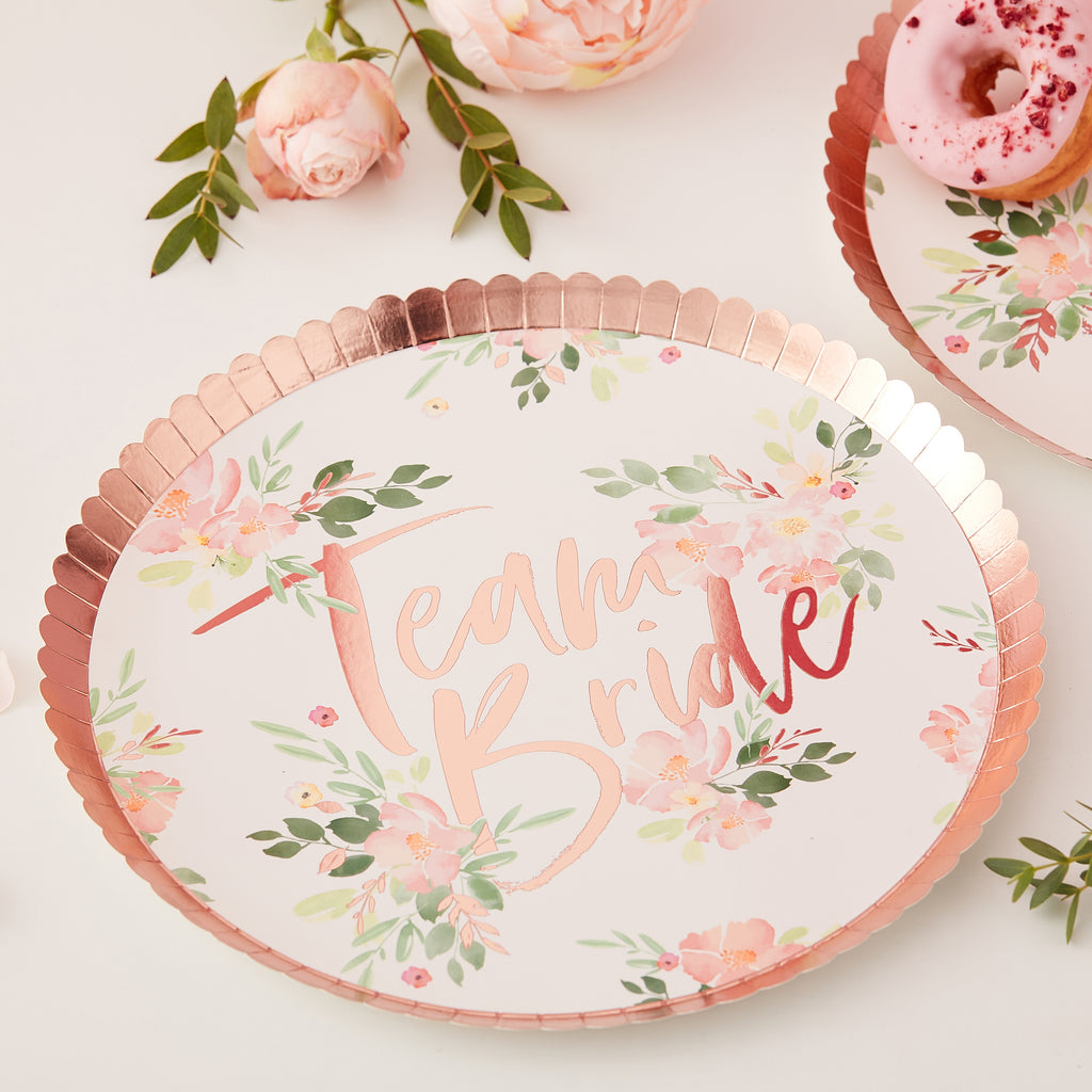 NEW! Floral Rose Gold Foiled Team Bride Plates - 8 Pack