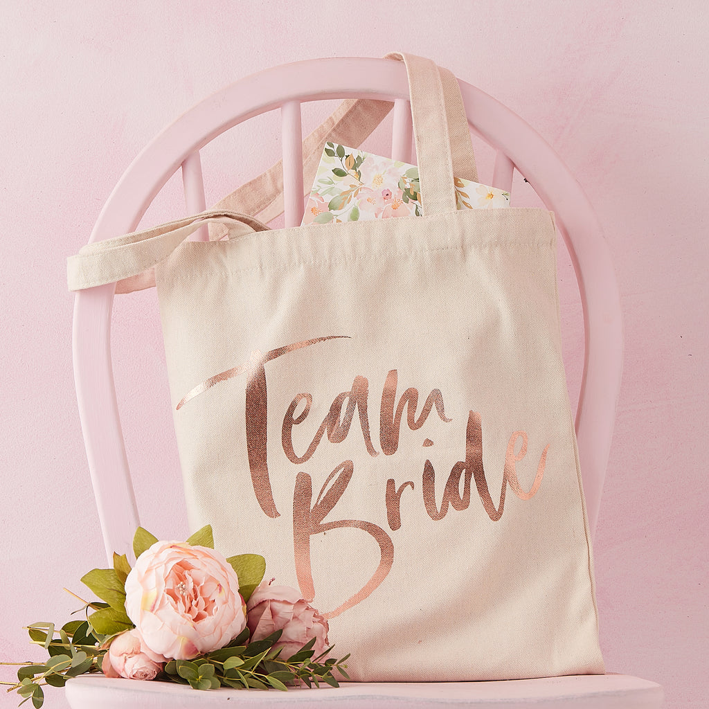 Rose Gold Printed Toe Bag - Team Bride