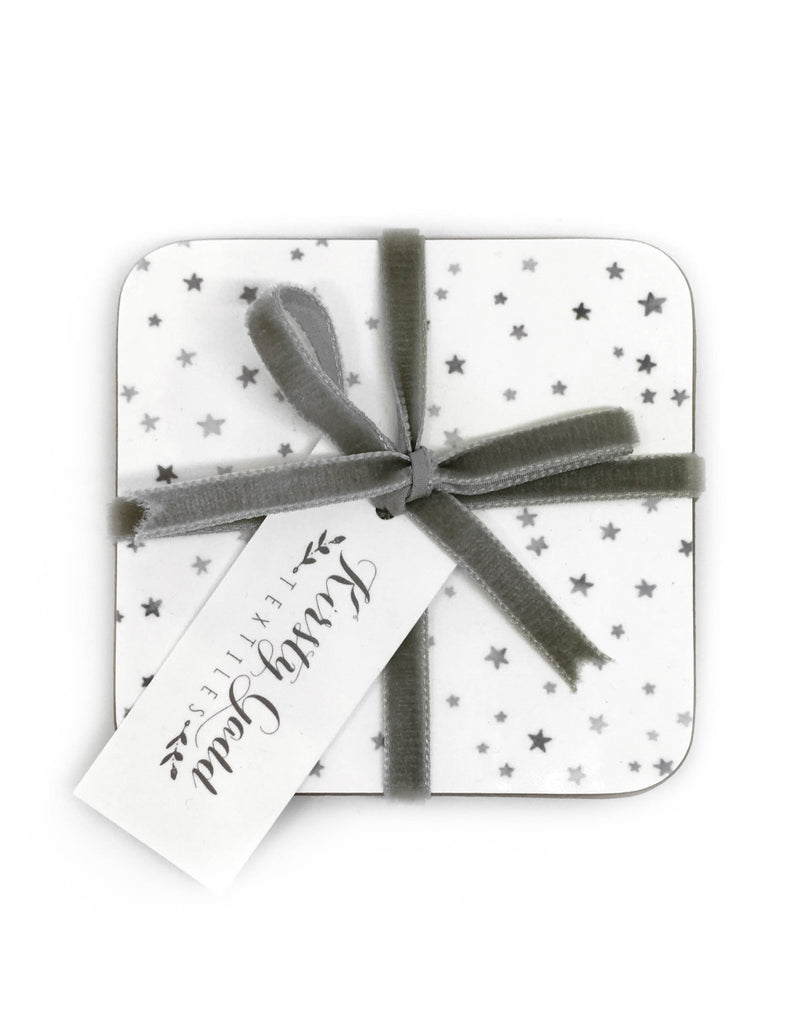 Kirsty Gadd textiles star coasters 4 pack tied with velvet ribbon grey, made in the uk