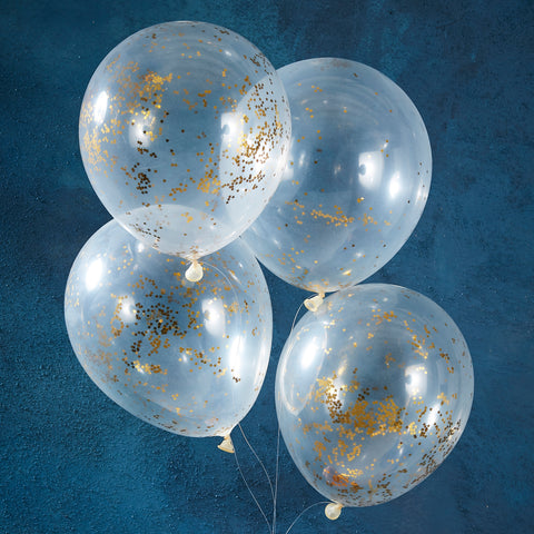 Gold Star Glitter Filled Balloons - 5 Pack