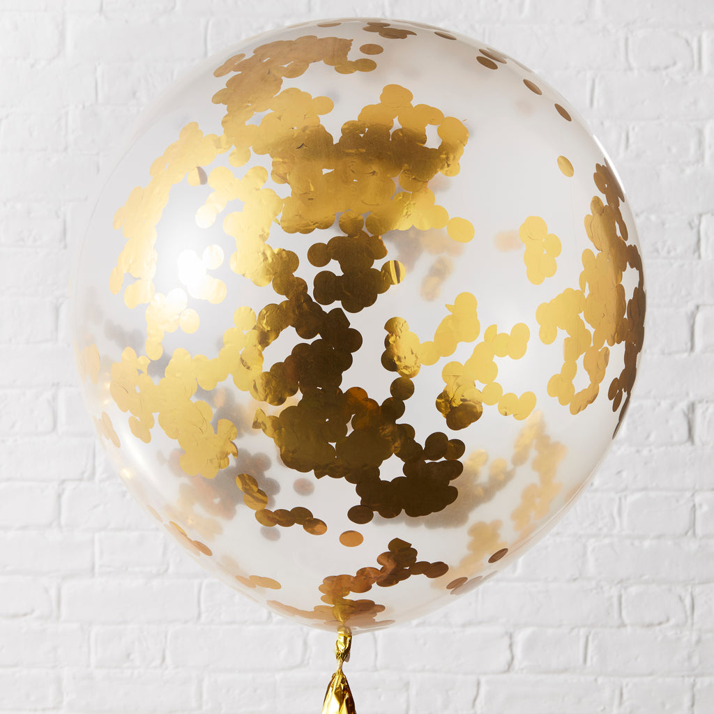 NEW! Large Gold Confetti Filled Balloons - 3 Pack