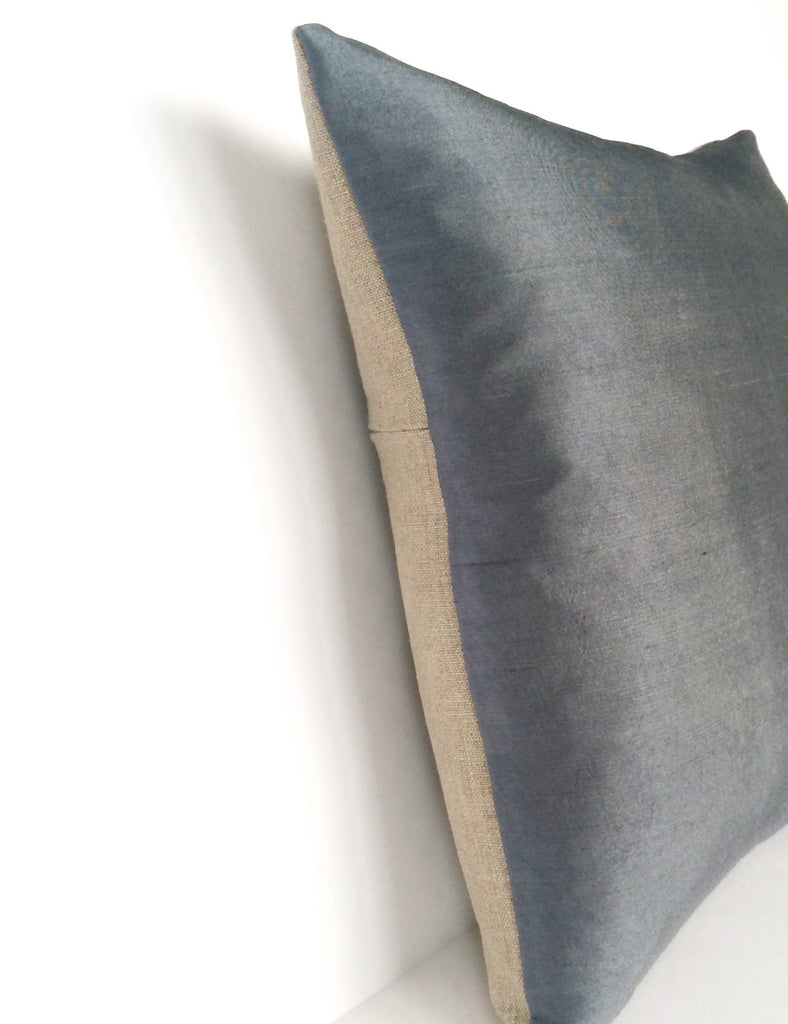Kirsty Gadd Textiles - Grey Blue Hand Dyed Limited Edition Silk Linen Cushion