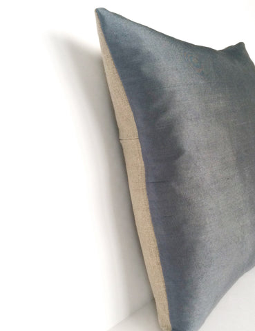 Blue-Grey Silk & Natural Linen Luxurious Handmade Square Cushion - Various Sizes LIMITED EDITION