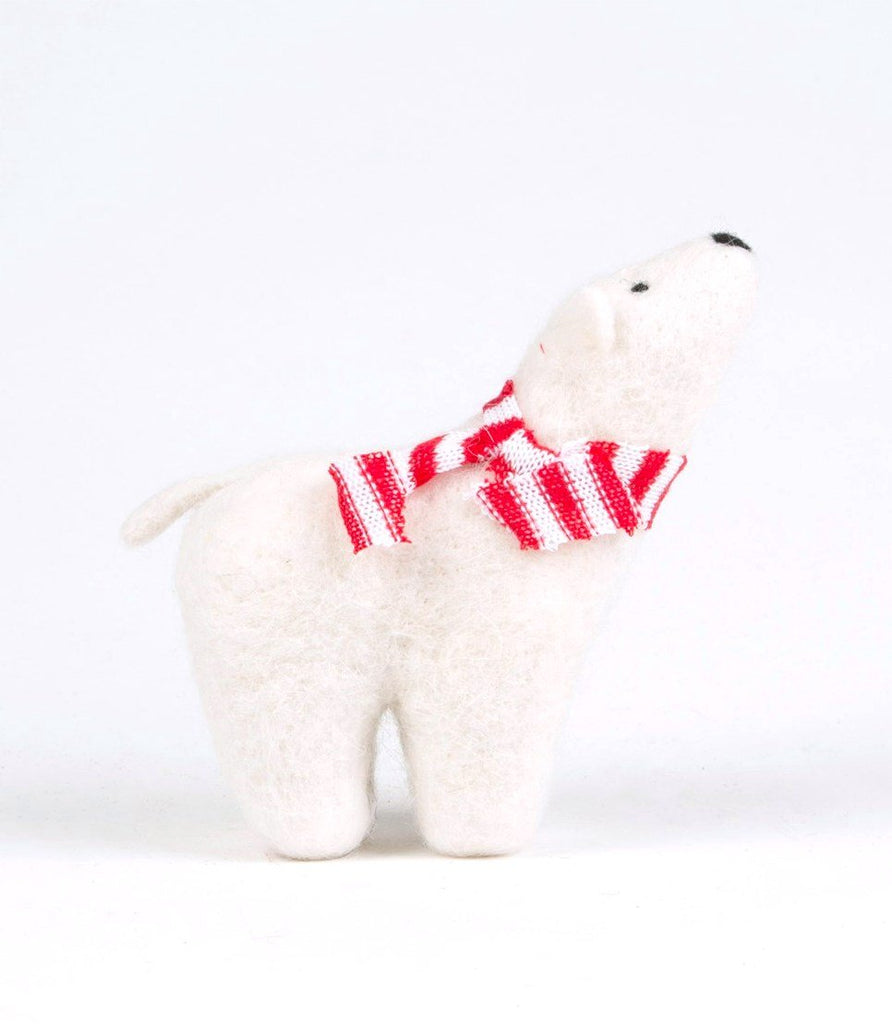 NEW IN! Felt Polar Bear with Striped Scarf