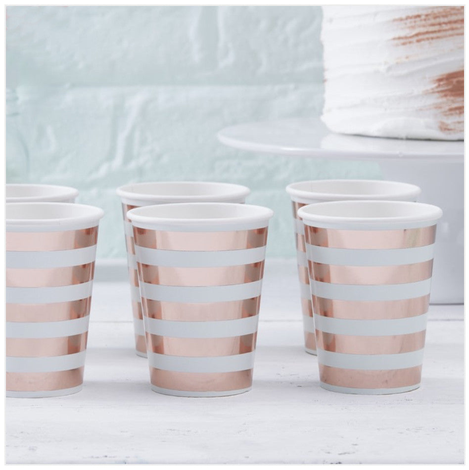 Kirsty Gadd Textiles Hello World Rose Gold Mint Baby Shower Cups