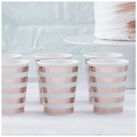Mint & Rose Gold Paper Cups - Hello World - Baby Shower