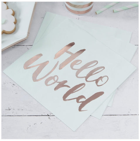 Mint & Rose Gold Paper Napkins - Hello World - Baby Shower