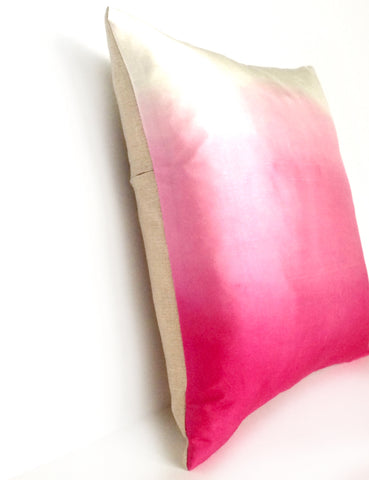 Hot Pink Ombre Silk & Natural Linen Luxurious Handmade Square Cushion - Various Sizes - Hand-dyed
