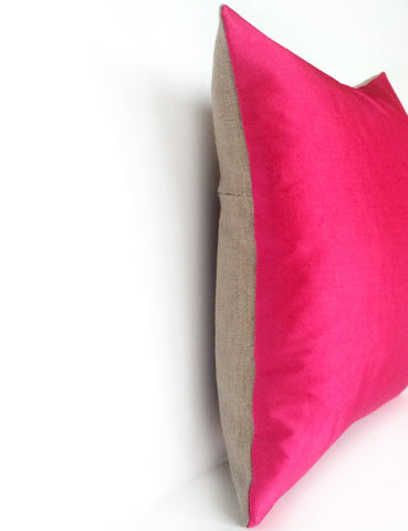 Hot Pink Silk & Natural Linen Luxurious Handmade Square Cushion - Various Sizes Hand-dyed